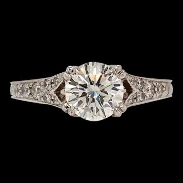 Pure Platinum Genuine Diamond 0.92CT Diamond Ring 4.6g Size 5.50