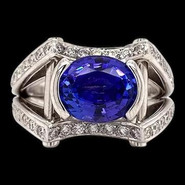 James Kaya Solid 18K White Gold & Natural Diamond Ring W/ Genuine Tanzanite 13g