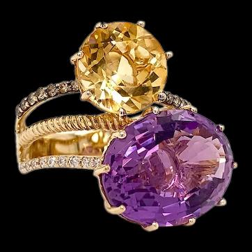100% Authentic LeVian Genuine Amethyst, Citrine & Diamond Ring Size 7.25 7.9g