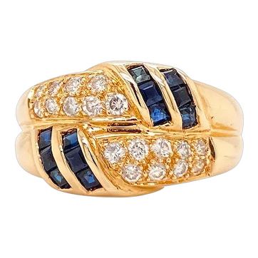 Solid 14K Yellow Gold Genuine Sapphire & Diamond Ring 4.6g Size 6.25