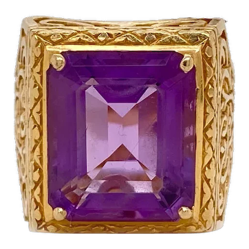Solid 14K Yellow Gold & Genuine Amethyst Filigree Ring 8.9g Size 7.25