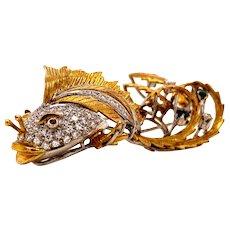 Solid 18K Two-Tone Gold Genuine Diamond, Emerald, Ruby & Sapphire Fish Pin 12.5g