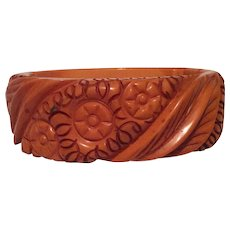 Bakelite Butterscotch Hinged Bangle