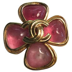 Chanel Pink Poured Glass Pin