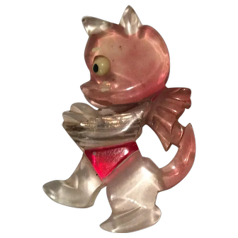 Lucite Cat Pin