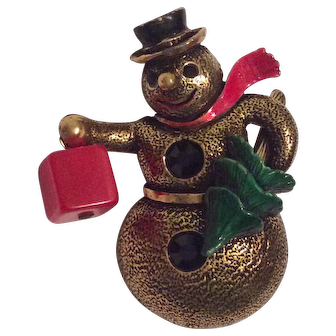 Hollycraft Snow Man Pin