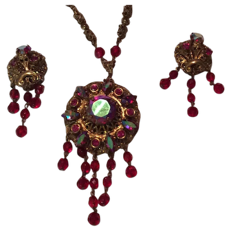 West Germany Necklace with Matching Earrings