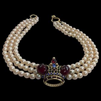 Butler & Wilson Crown Necklace