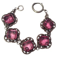 Pink Glass Silver Tone Filigree Bracelet