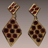 Mod Red Rhinestone Dangle Earrings