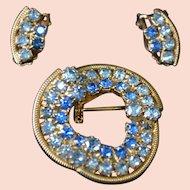 RHINESTONE Brooch Pin and Earring Set