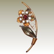 Red Rhinestone Flower Gold Filled Brooch Pin