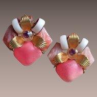 Vintage Plastic Cluster Earrings