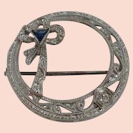 Faux Sapphire Circle Brooch Pin