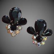 Black Rhinestone Drama Earrings