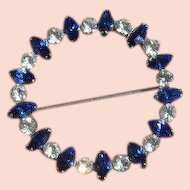 STERLING Faux Sapphire and Diamond Circle Brooch Pin