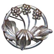 Vintage Silver Tone Brooch Pin