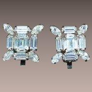 WEISS Squared Rhinestone Earrings