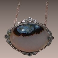 SILVER Picture Agate Pendant Brooch Necklace
