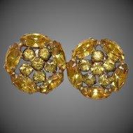 Lemon Yellow Rhinestone Earrings