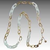 Mod Plastic and Gold Tone Link Necklace