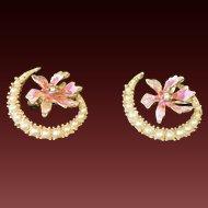 Pair of CRESCENT Flower Brooch Pins