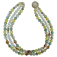 CORO Triple Strand Bead Necklace
