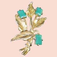 Faux Jade Flower Brooch Pin