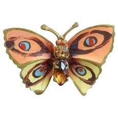 Vintage Painted Butterfly Brooch Pin