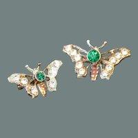 Pair VINTAGE Butterfly Brooch Pins
