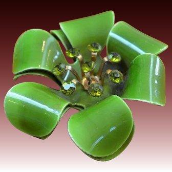 Enamel and Rhinestone Flower Brooch Pin