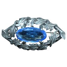 Pewter and Blue Glass Brooch Pin