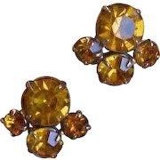 CORO Yellow Rhinestone Earrings