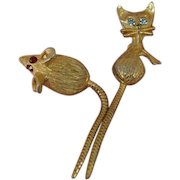 Vintage Cat and Mouse Brooch Pins