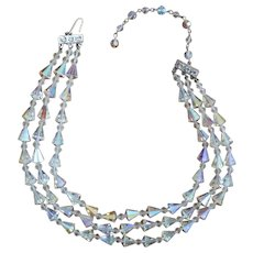 Triple Strand Crystal Necklace