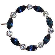 Krementz Faux Sapphire and Faux Diamond Brooch Pin