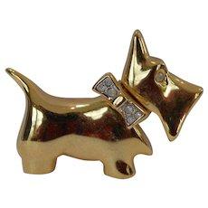 Bejeweled Scottie Dog Brooch Pin