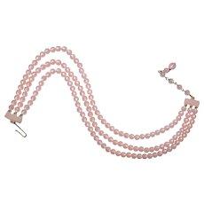Pink Multi-Strand Bead Choker Necklace