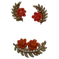 Faux Coral Flowerette Brooch and Earring Set
