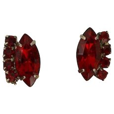 Red Rhinestone Drama Earrings