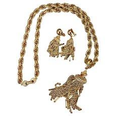 MONET Boho Fringe Necklace and Earring Set