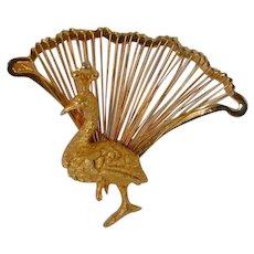Peacock Fan of Feathers Brooch Pin