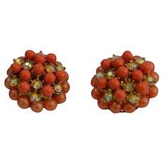 Orange Bead Burst Earrings