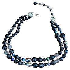 CORO Black Bead Choker Necklace