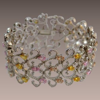 STERLING Pink and Yellow Rhinestone Filigree Bracelet