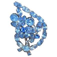 Blue Rhinestone Leaf Brooch Pin