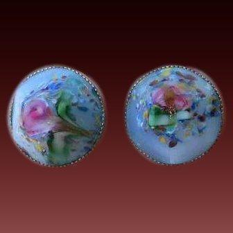 Faceted Glass Rosette Earrings