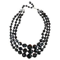 Triple Black Bead Necklace