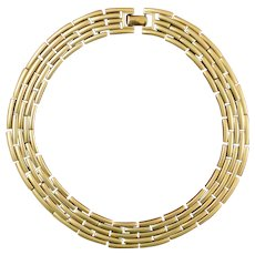 MONET Brushed Gold Tone 'Bamboo' Choker Necklace