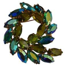 AB Blue and Green Rhinestone Swirl Brooch Pin